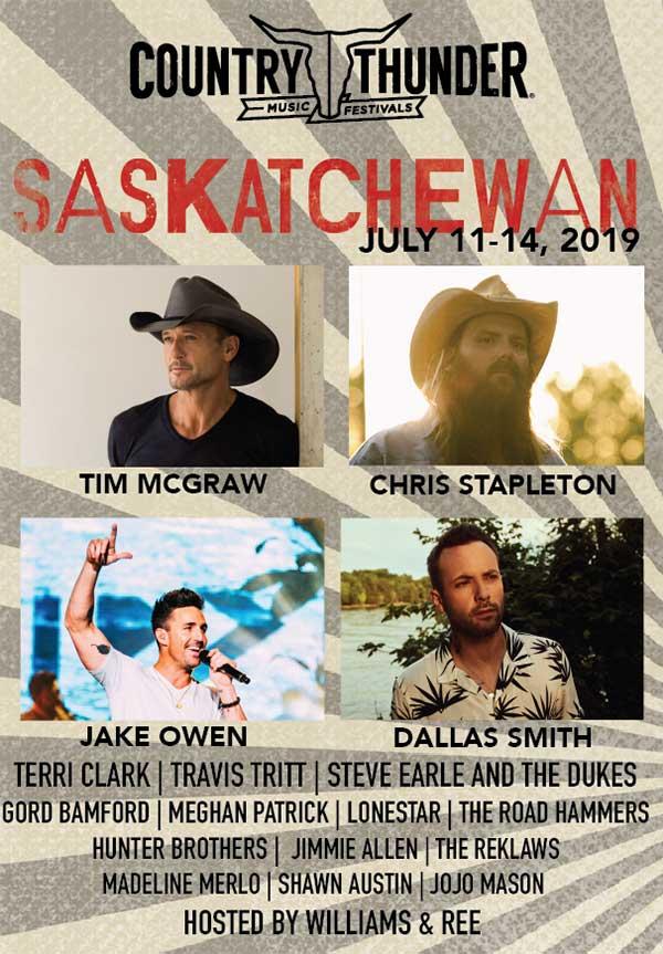 Chris Stapleton, Tim McGraw, Jake Owen & Dallas Smith Announced As Country Thunder Saskatchewan 2019 Headliners