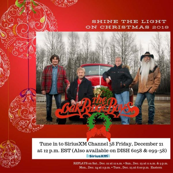 Tune In Alert: GRAMMY®-Winning Oak Ridge Boys 'Live From Branson' Christmas Special Premieres On SiriusXM's Prime Country Friday, Dec. 21 At 12PM ET