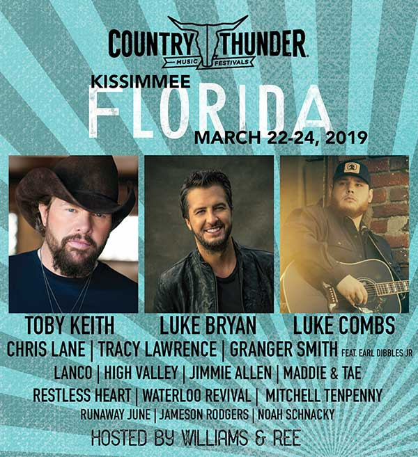 THE FESTIVAL BRAND THAT THE ACADEMY OF COUNTRY MUSIC NAMED 'FESTIVAL OF THE YEAR' – COUNTRY THUNDER – IS ROLLING INTO FLORIDA
