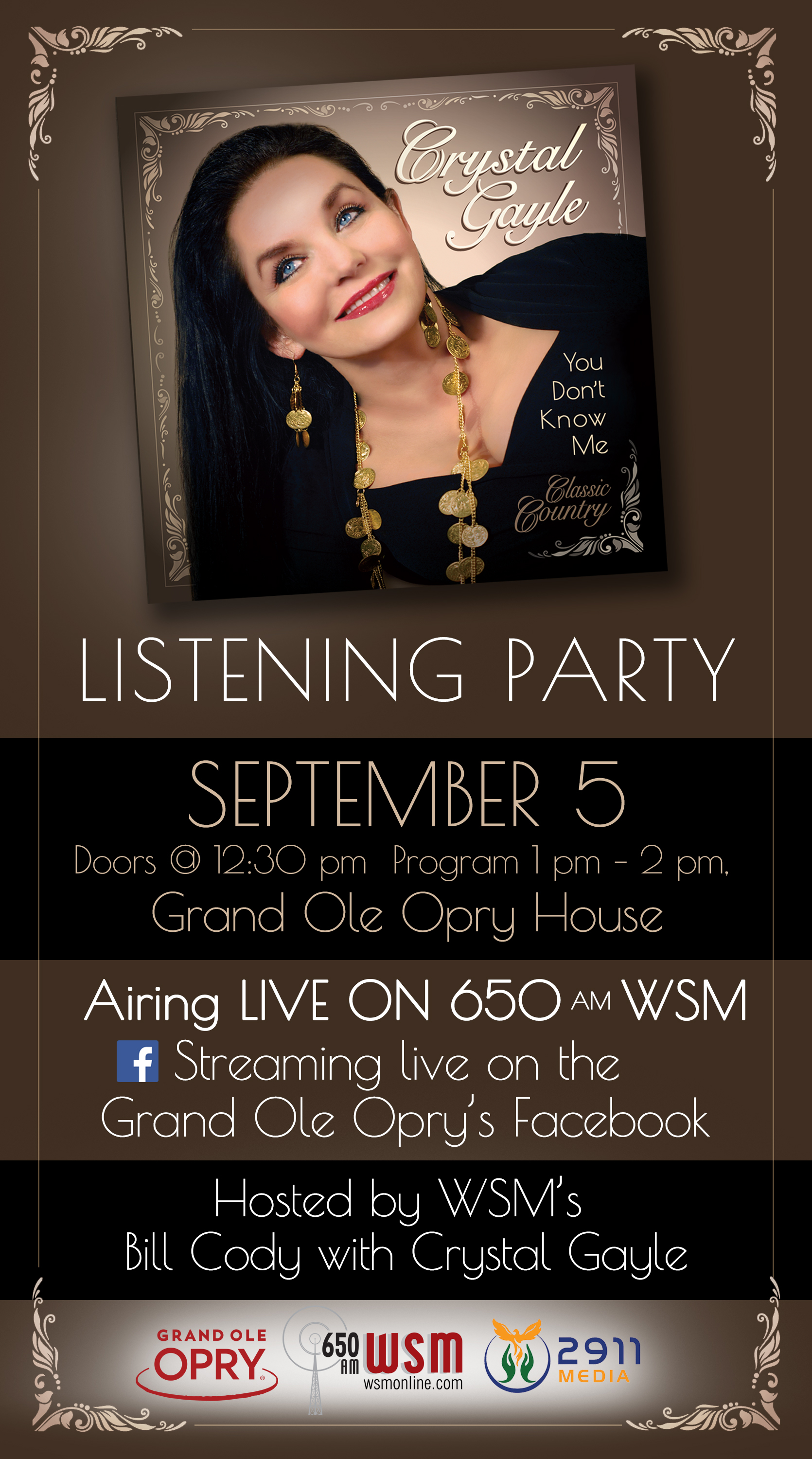 Crystal Gayle 'You Don't Know Me' Listening Party At The Grand Ole Opry House, Sept. 5 at 1pm