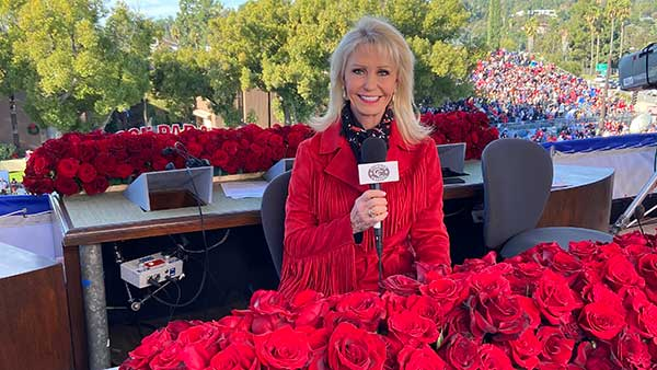 Pam Minick, host of The American Rancher on The Cowboy Channel and Billy Bob's Texas VP of Marketing hosts coverage of 131st Annual Rose Parade in Pasadena, Calif. (Wednesday, Jan. 1, 2020)