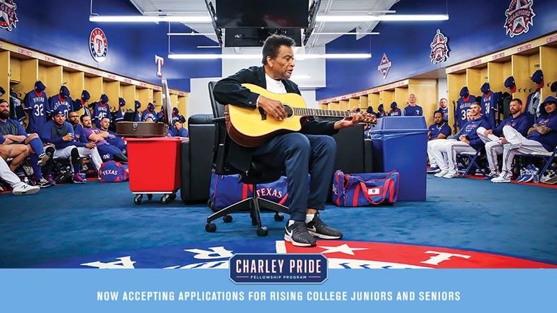 Charley Pride performs in Texas Rangers locker room