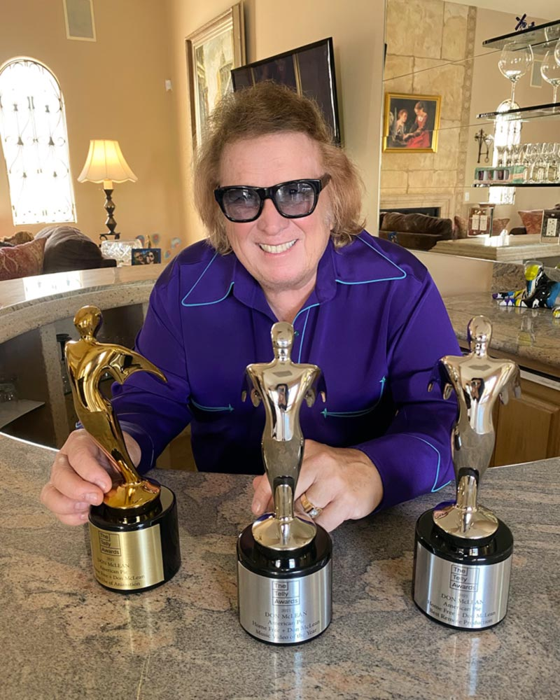 Don McLean with three Telly Awards